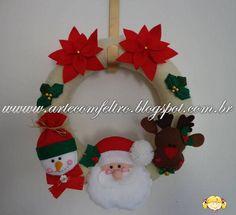 Guirlandas de Natal para o Julio - Currais Novos - RN  São 6 Guirlandas com detalhes de Boneco de Neve, Papai - Noel, Rena e Flores ...