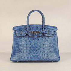 Hermes Birkin Alligator Blue Silver
