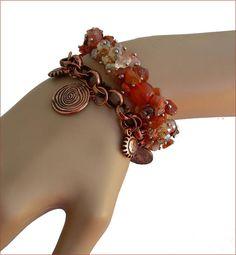 Agate stone/copper charms boho bracelet Bracelet bohème Agate Stone, Bracelets, Charms, Copper, Boho, Etsy, Jewelry, Stone Bracelet, Stones
