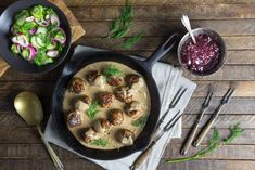 Swedish Meatballs with Cucumber and Red Onion Salad with Dill