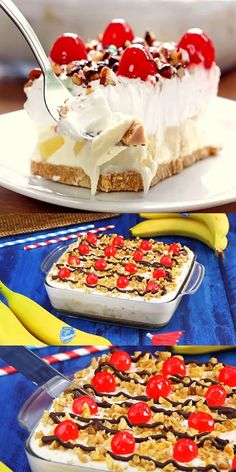 Banana cake for Christmas and New Year, New Year's Desserts, Banana Dessert Recipes, Sweet Desserts, Christmas Desserts, Christmas Treats, Christmas Baking, Cheesecake Recipes, Candy Recipes, Yummy Recipes