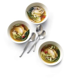 Poached Chicken with Bok Choy in Ginger Broth: Mushrooms and bok choy are full of antioxidants, Wholeliving.com