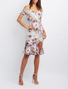 Floral Off-The-Shoulder Flounced Dress