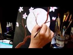 Moon Light Blossoms Acrylic Painting Speed Painting Get your inner artist on! #lovesummerart - YouTube