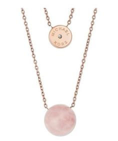 606ea58f72e7 Michael Kors Mkj5476 Rose Gold Tone Pink Stone Layered 2 Row Pendant  Necklace for sale online