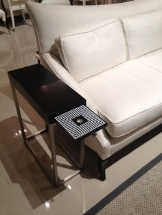 """Caracole """"Black Tie Optional"""" table. Pull out drawer in black and white stripes. Reminds me of Mark Jacobs Spring 2013 RTW! #hpmkt"""
