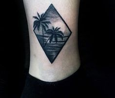 Amazing Realistic Palm Trees Beach Ocean Mens Ankle Tattoo Designs