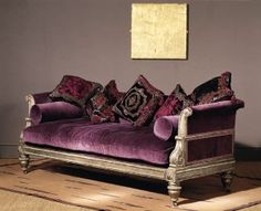 Velvet couch. I want this somewhere!