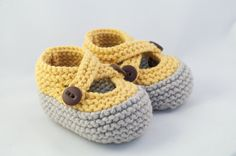 Yellow & Gray Knit Baby Booties by PumpkinToesKnits on Etsy