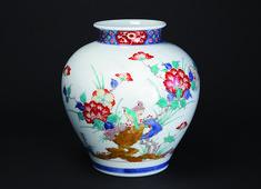 有田柿右衛門DMA-染錦牡丹鳥文花瓶 1339×969