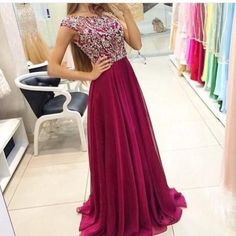 a-line cap sleeves crystals beaded bodice tulle skirt burgundy prom dress, burgundy evening gowns 199USD.OFF 5%