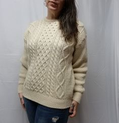 89356eac0e COTTAGE KNITWEAR Ivory Wool Irish Aran Fisherman Sweater Cable Knit Mens M   CottageKnitwearChristopherHayes  Fisherman
