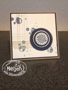 Stampin' Up! Gorgeous Grunge stamp set, Starburst Saying stamp set, Starburst framelits and Circle punches...By Atelier Negen