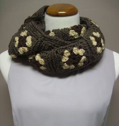 Granny Square Infinity Scarf in Shades of Brown and Beige