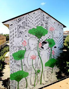 Italian Street Artist Creates Curious Black and White Murals  Francesco Camillo Giogino Black and White Murals 2016