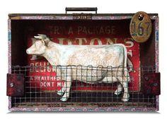 Assemblage Art Sculpture No. 167 Cow/Cattle/Dairy by catheholden Found Object Art, Found Art, Mixed Media Boxes, Mixed Media Art, Box Art, Art Boxes, Assemblage Art, Medium Art, Design Crafts