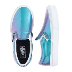 Girls' Vans® classic slip-on sneakers in blue patent leather : shoes | J.Crew
