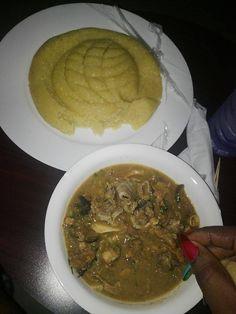 Nigerian Foods And Recipes: Garri (Eba) With Nigerian Ogbono Soup