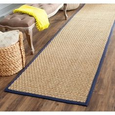 """Shop for Safavieh Casual Natural Fiber Natural and Blue Border Seagrass Runner (2'6 x 6') - 2'6"""" x 6'. Free Shipping on orders over $45 at Overstock.com - Your Online Home Decor Outlet Store! Get 5% in rewards with Club O! - 13303774"""