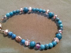 Genuine turquoise gemstone beaded bracelet #Beaded