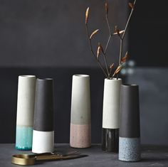 Pretty concrete two tone tube vase are perfect for a cosy atmosphere Made of #concrete #glaze #modern