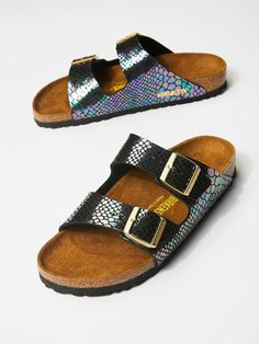 Arizona Snake Birkenstock | Classic two-strap fully adjustable synthetic leather Birkenstocks in a super cool, modern and shiny snake skin inspired design.    * Sturdy EVA sole.   * Sizing Tip: This style runs true to size. If between sizes size up.