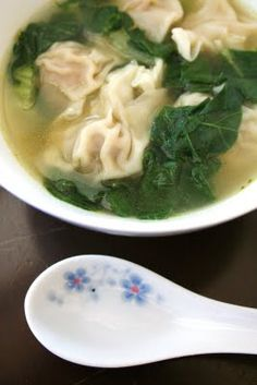 Won Ton Soup - If you make enough to freeze, make sure to freeze them on a cookie sheet.  When frozen you can put them in a freezer bag.  If you don't, you will have a lump of won tons.;)