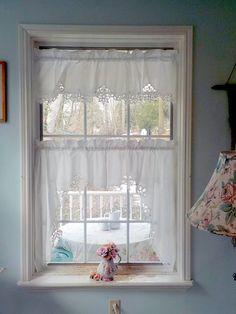 Lace Valances, Lace Curtains, Window Curtains, Lace Table Runners, Vintage Curtains, Baby Blue Colour, Vintage Nursery, Romantic Homes