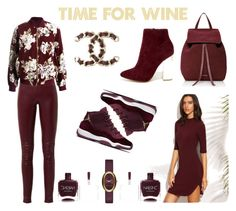 """""""TIME FOR WINE"""" by ell-richards ❤ liked on Polyvore featuring Mansur Gavriel, Balenciaga, Sans Souci, Nails Inc., X2B, Chanel, Marc Jacobs, Boots, burgundy and jordans"""