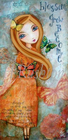 Mixed Media Collage Art- Girls Room Decor - Blonde Butterfly Girl-Fine Art Print Size 5 x 10