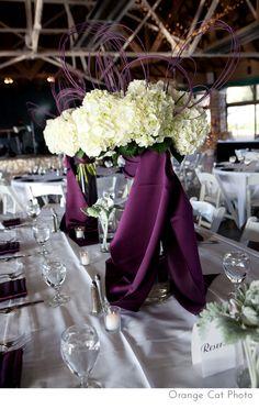 Crest Center wedding and hydranga centerpieces