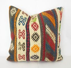 Kilim Pillow Cover Decorative 20 X 20 Red by SultanaDecorPillows