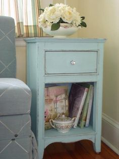 shabby chic side table with flowers--love the color!