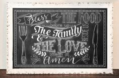 "Custom Chalkboard Sign, ""Bless the food before us, the family beside us & the love between us."" Made to order with personalized designs."