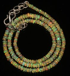 """32 Ctw1Necklace  2to4mm 16""""Beads Natural Genuine Ethiopian Welo Fire Opal 9104"""