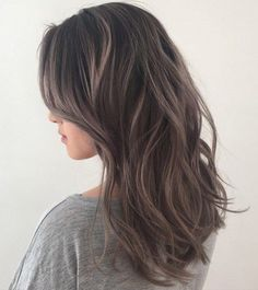 Image result for dark brown hair ash highlights