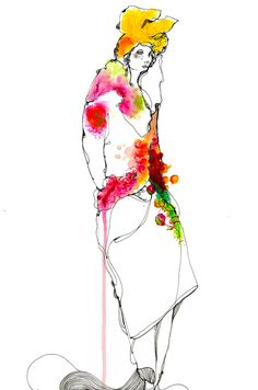 Timi Hayek, Week 6/Eduardo Wolfe-Alegria, Lebanon, Life drawing, mixed media-pen and watercolour, I like this illustration because the fine line work  creates a sense of spontaneity. I love his use of minimal colour but uses a dripping technique with the watercolour to fill certain parts of the garment and gives a small sense of what the clothes are doing