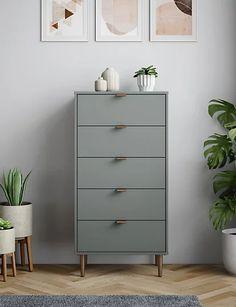 Quinn 5 Drawer Chest | M&S Ikea Malm Drawers, Narrow Chest Of Drawers, Bedroom Chest Of Drawers, Diy Drawers, 5 Drawer Chest, Tall Narrow Dresser, Tall Drawers, 5 Drawer Dresser, Ikea Dresser Makeover