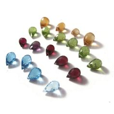Natural Gemstone Mix, Blue Topaz, Rhodolite Garnet, Amethyst, Peridot, Citrine Briolette Mix, 19 Gorgeous Stones(L-Mix5)