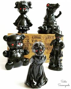 "Repurpose unassuming thrift store figurines (even broken ones!) into creepy ""haunted"" Halloween decor. A spooky DIY that anyone can do! Scary Halloween Decorations, Cheap Halloween, Holidays Halloween, Haunted Halloween, Halloween Ideas, Halloween Party, Halloween Stuff, Halloween 2018, Halloween Lanterns"