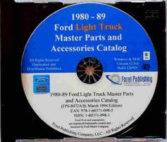 FORD LIGHT TRUCK FACTORY MASTER PARTS CATALOG on CD - INCLUDES: F150 F250 F350 models. 1982 1982 1983 1984 1985 1986 1987 1988 1989