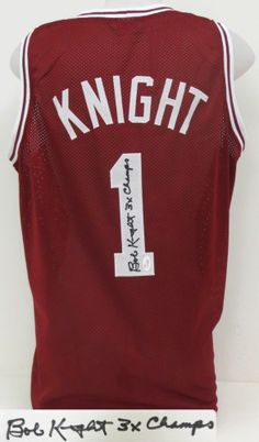 Bobby Knight Hoosiers Signed College Jersey 3x NCAA Champs Inscription JSA