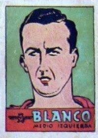 Blanco. Atlético de Madrid. 1941-42. Cromos Bruguera. Medio izquierda reserva.