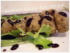 Polpettine di manzo al paté di olive nere con glassa all'aceto balsamico