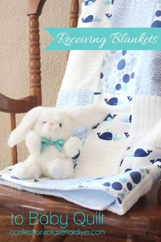 How to make a baby quilt from flannel receiving blankets. All the blankets in a pack of receiving blankets are perfectly coordinated to make a cozy baby quilt! Quilt Baby, Baby Quilt Patterns, Quilting Patterns, Baby Sewing Projects, Quilting Projects, Sewing Ideas, Quilting Ideas, Diy Projects, Sewing Basics