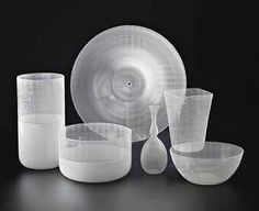 Tapio Wirkkala (1915-1985). Filigrani; bottle, vases, bowls, plate; 1966-1968 and 1972.