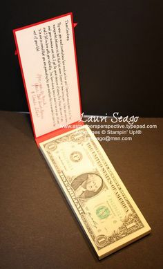 Money Pad for Graduate. Stack the money to square on all edges and align with the chipboard. The graduate just can't wait to receive bills in this stunning money pad. It stands for wealth as well as honor for the great graduation celebration. http://hative.com/graduation-cash-gifts/