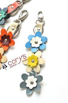 Cute Leather Flower Keychain Bag Charms #bagcharm #keychain #bags #flowers