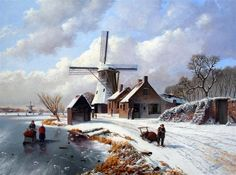 Rob van Assen - Molen in de winter met figuren