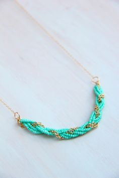 Turquoise Seed Bead Braided Necklace by ayofemijewelry on Etsy